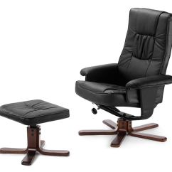 Reclining Chair With Ottoman Leather Rose Gold Covers Wedding Ovela Faux Recliner Black Ebay