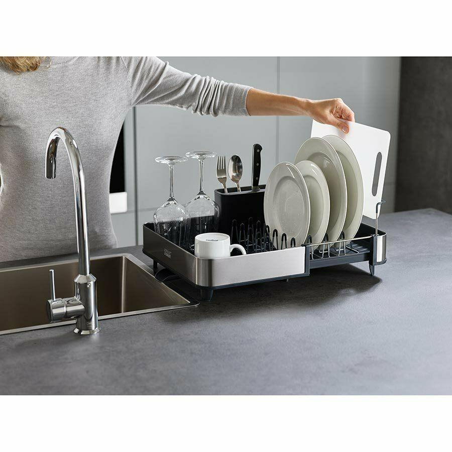 new joseph joseph expandable extend dish drying rack cutlery drainer spout grey