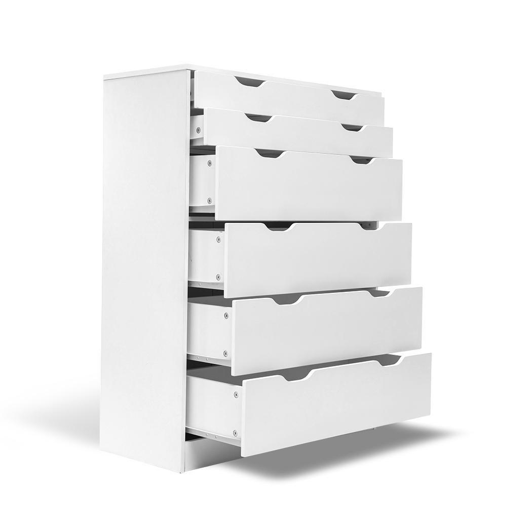 Tallboy Dresser 6 Chest Of Drawers Bedroom Storage White Table Cabinet Organiser Kogan Com