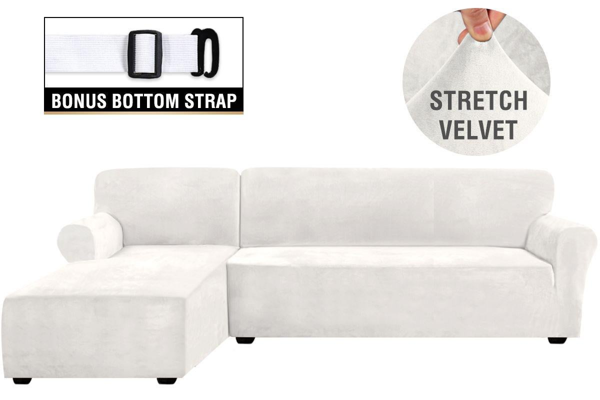 2 pieces style velvet stretch l shaped sofa covers couch covers lounge covers sectional sofa slip covers ivory color left chaise 2 seater 3