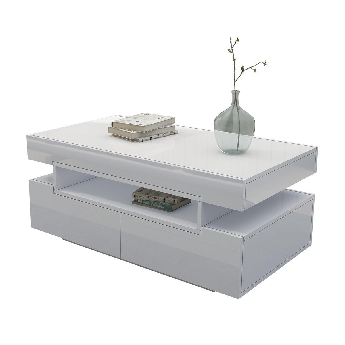 modern white coffee table 4 drawer storage shelf high gloss wood living room furniture other home decor