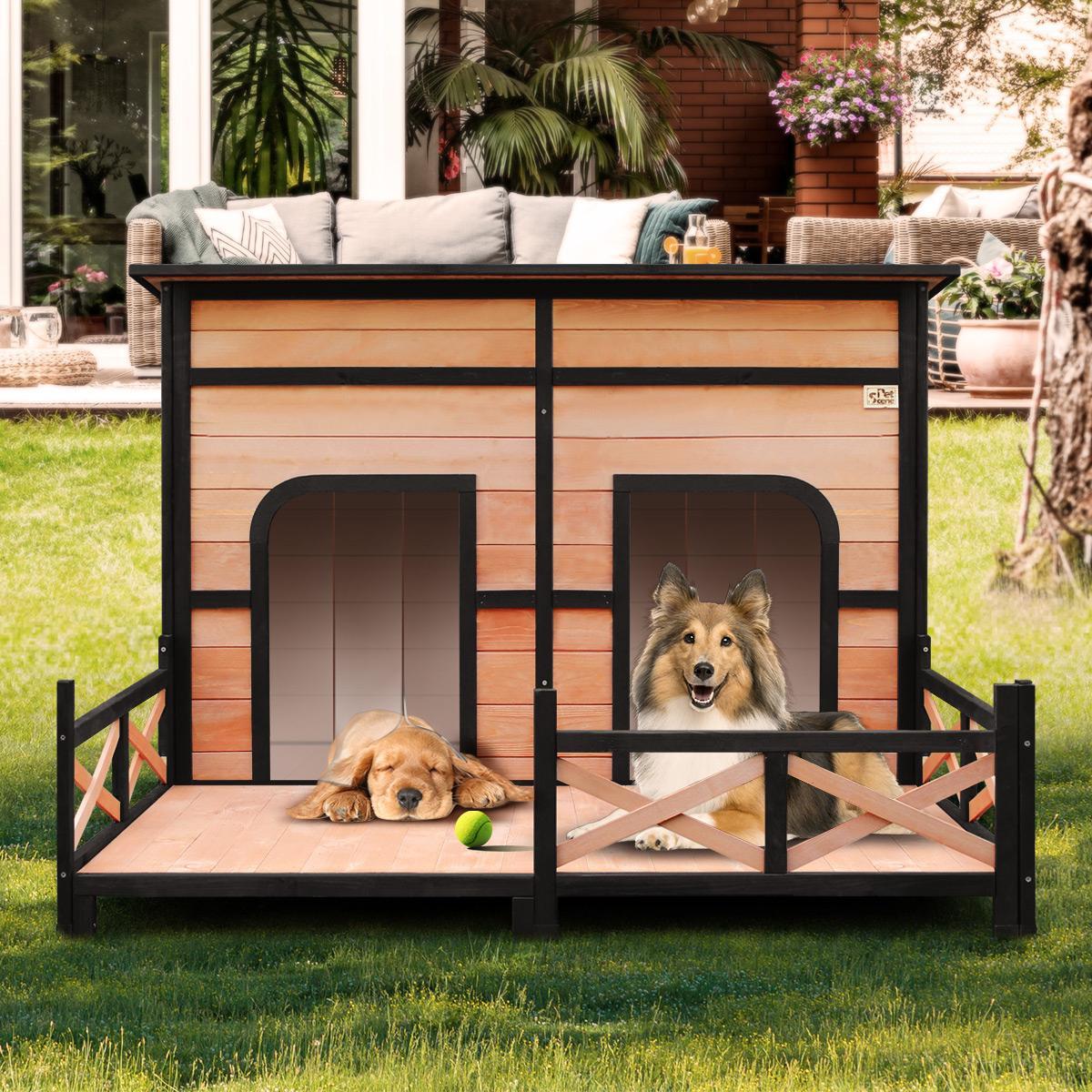 petscene xxl wooden pet house dogs kennel indoor outdoor w lift up flat roof patio 2 doors