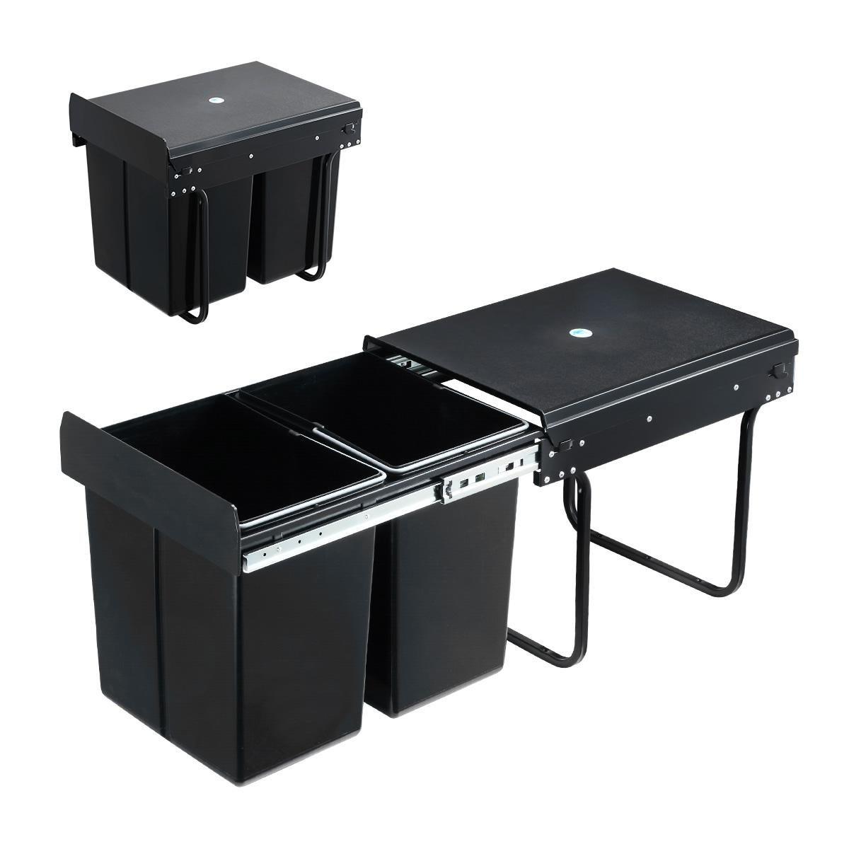 2x 20l pull out trash bin kitchen garbage waste basket under sink rubbish w soft close slides