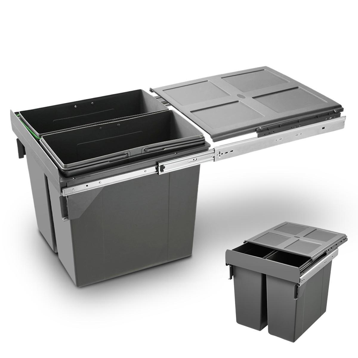 90l pull out kitchen bin under sink dual bins cupboard waste recycling bin