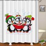 Penguins Christmas Band Shower Curtain 72in 72in 180cm 180cm Matt Blatt