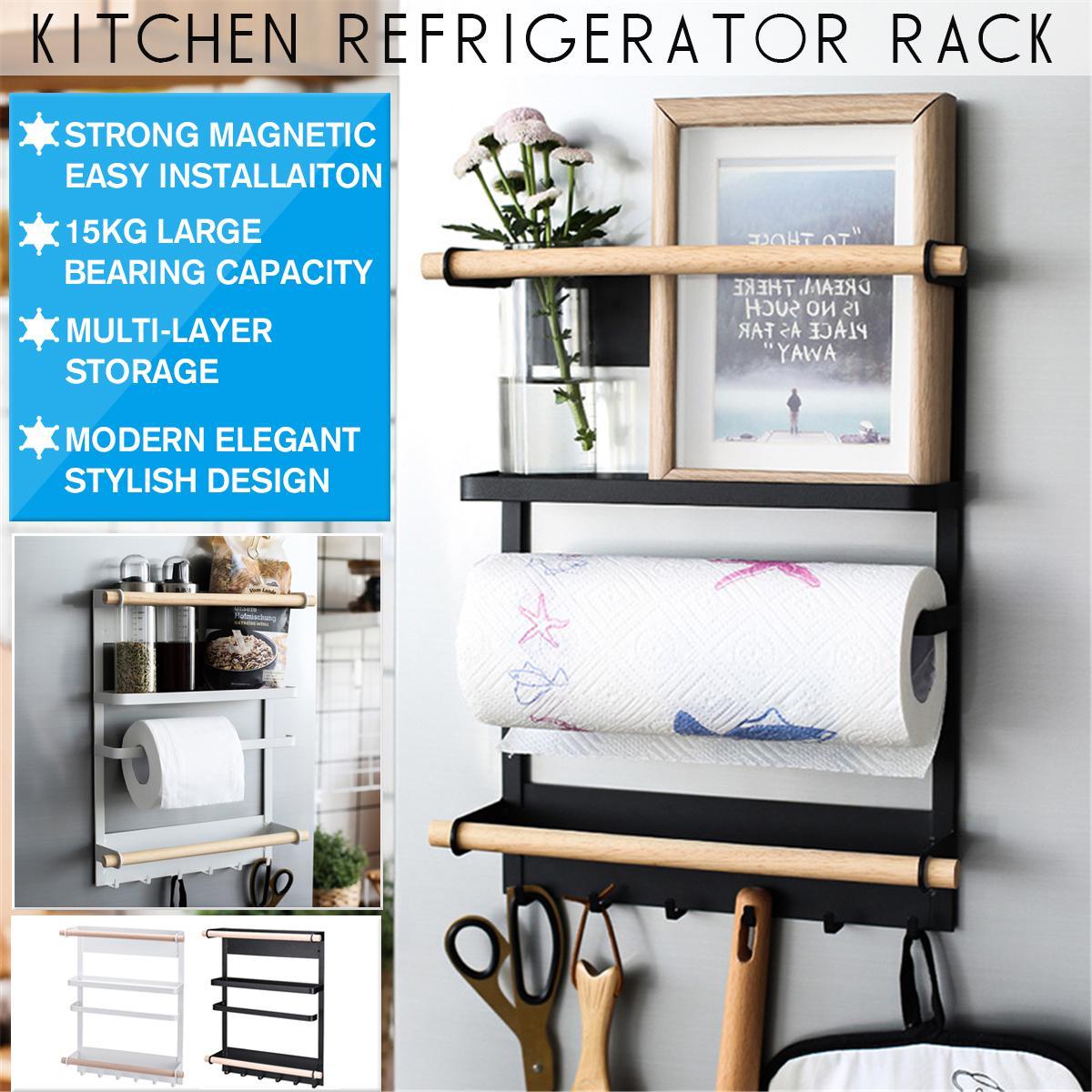 kitchen organiser rack fridge magnetic paper towel holder with hooks multifunction white racks holders