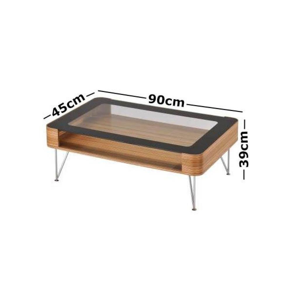 zine scandinavian small rectangular coffee table 90cm wooden frame glass top