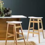 Artiss 2x Rubber Wood Bar Stools Wooden Bar Stool Dining Chairs Kitchen White Matt Blatt