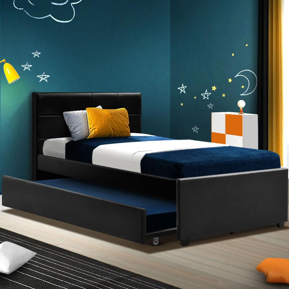 Trundle Bed Frame Wooden Bed King Single Size Base Daybed Mattress Wood Leather Matt Blatt