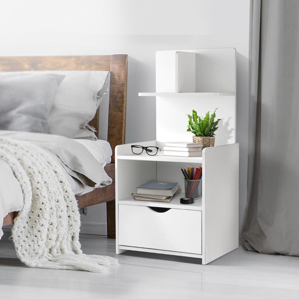 Artiss Bedside Tables Drawers Side Table Storage White Bedroom Nightstand Lamp Matt Blatt