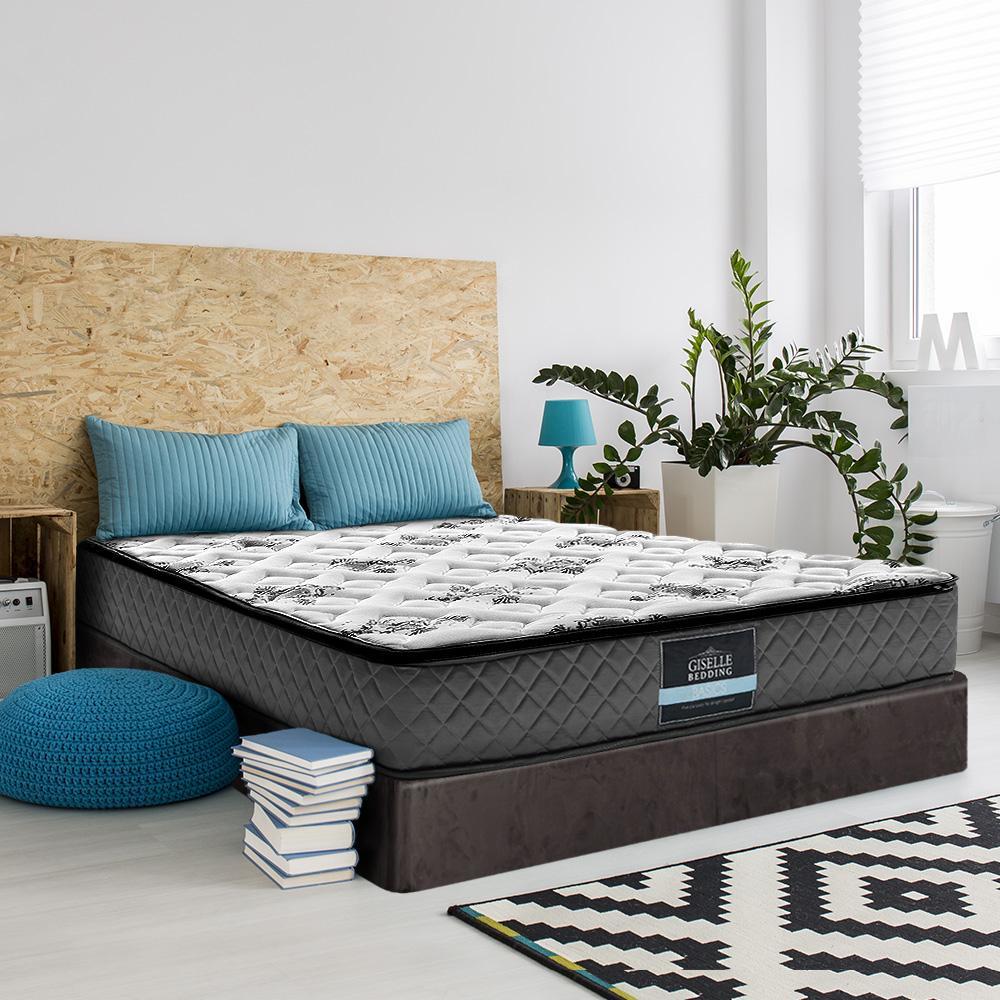 giselle bedding queen size bed mattress pillow top foam bonnell spring 24cm