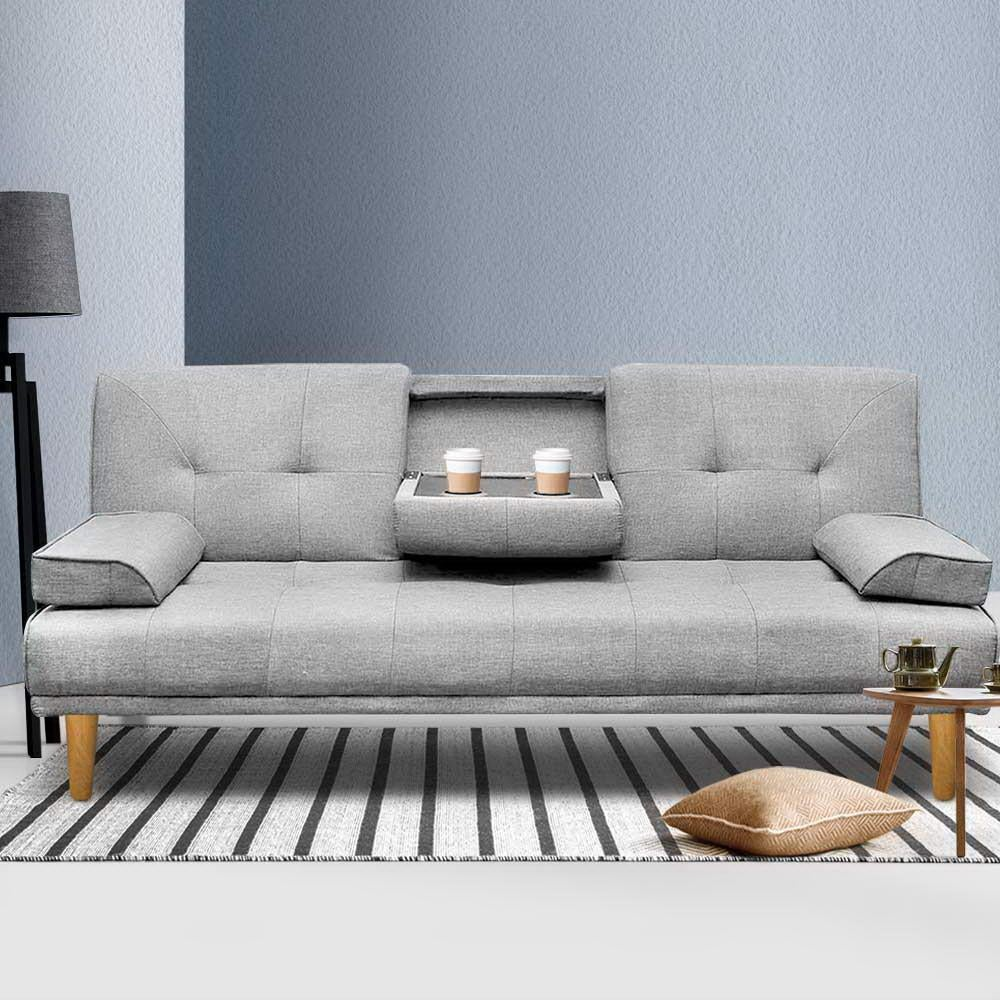 artiss sofa bed 3 seater karna collection grey 188cm