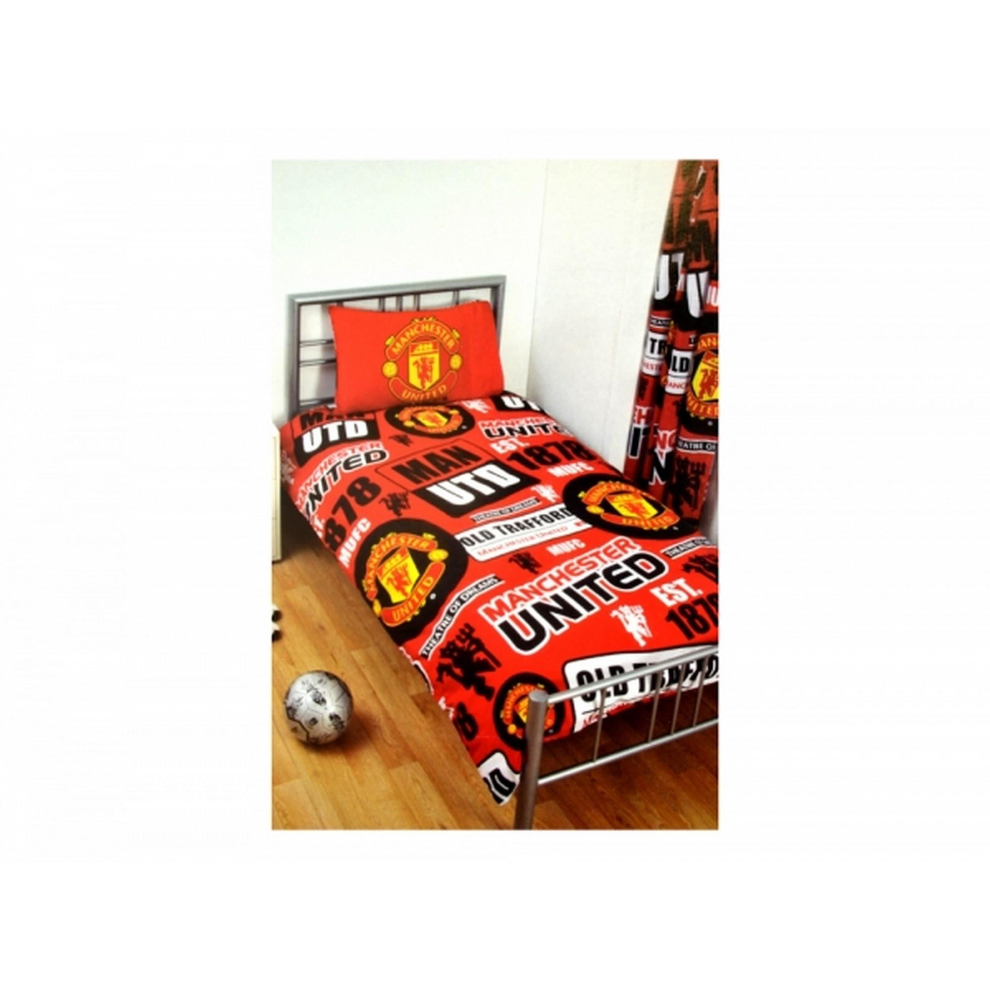 Manchester United Quilt Fleece Blanket Combo Manchester United Fade Design Reversible Double Duvet Set