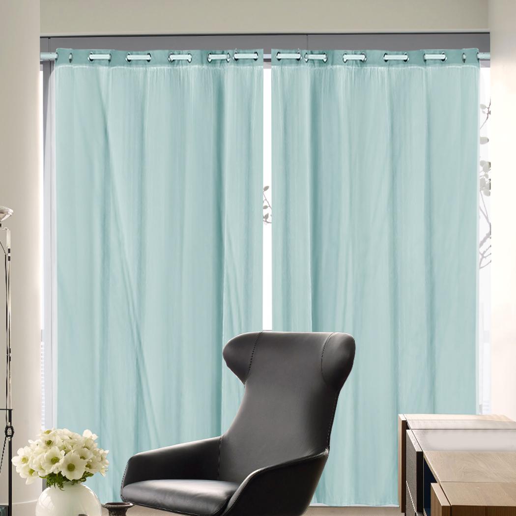 2x blockout curtains panels 3 layers with gauze room darkening 240x213cm aqua