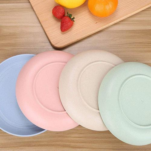 large unbreakable wheat straw plates reusable 22cm plate set dishwasher microwave safe perfect for dinner dishes healthy for kids