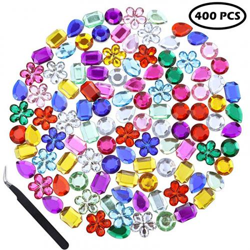 Heatoe 400 Pcs Assorted Craft Gems Acrylic Flatback Rhinestones Gemstone Bling Diamond Stickers For Arts And Crafts Jewels 8 Shapes Kogan Com