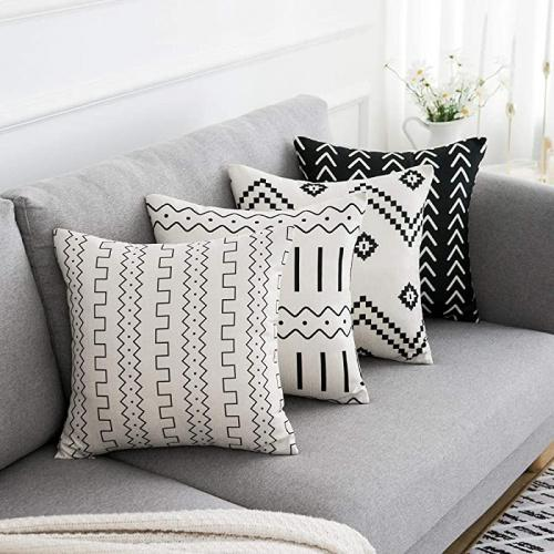 black and beige wlnui set of 4 pillow covers 18x18 pillow covers modern throw pillow covers black boho geometric mudcloth cotton linen neutral