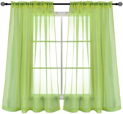130cm x 110cm sage keqiaosuocai 2 panels green sage sheer curtains for small windows rod pocket sheer drapes for bedroom 130cm wide by 110cm