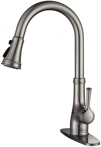 brushed nickel kitchen faucet wewe single handle stainless steel brushed nickel pull down kitchen sink faucet with pull out sprayer