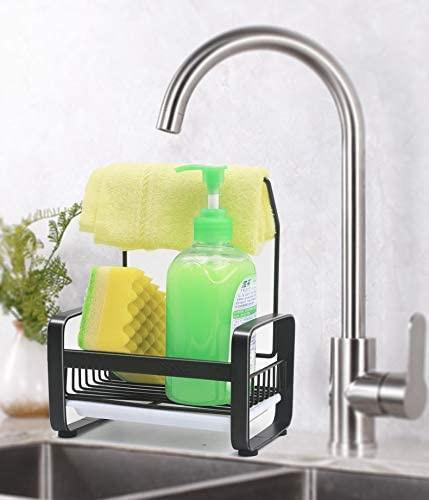 black kitchen sponge holder kitchen sink organiser sink caddy sink tray soap holder sus304 stainless steel black