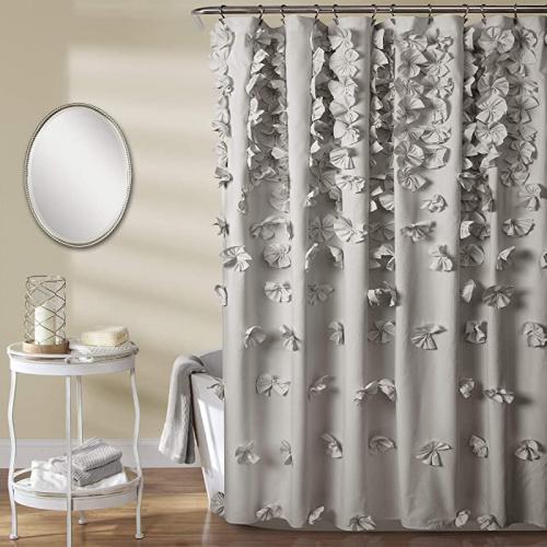 light gray lush decor riley shower curtain bow tie textured fabric shabby chic farmhouse style for bathroom x 72 light grey