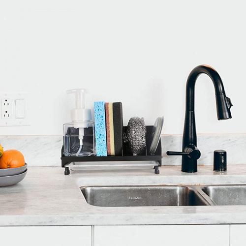 black hulisen sponge holder kitchen sink organiser sink caddy sink tray drainer rack brush soap holder with removable tray black