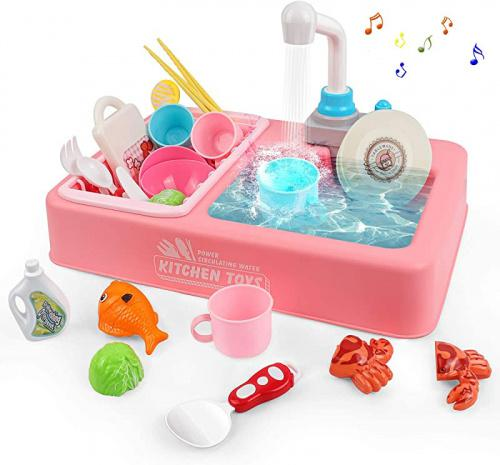 rabing pretend play kitchen sink toy set with running water and music toddler kitchen set dish rack play food sets for kids kitchen kitchen toys