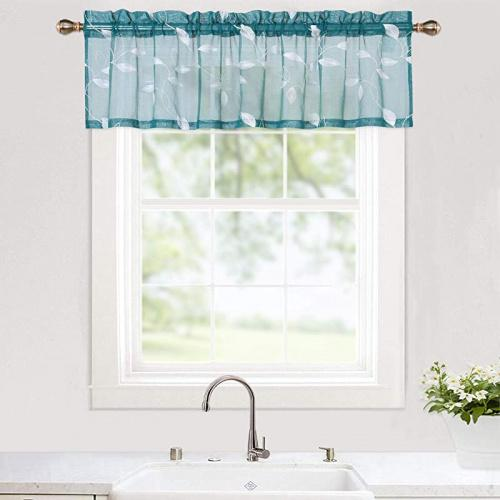 haperlare leaves embroidery kitchen curtain valance floral embroidered sheer valance curtains for kitchen cafe curtains rod pocket bathroom window