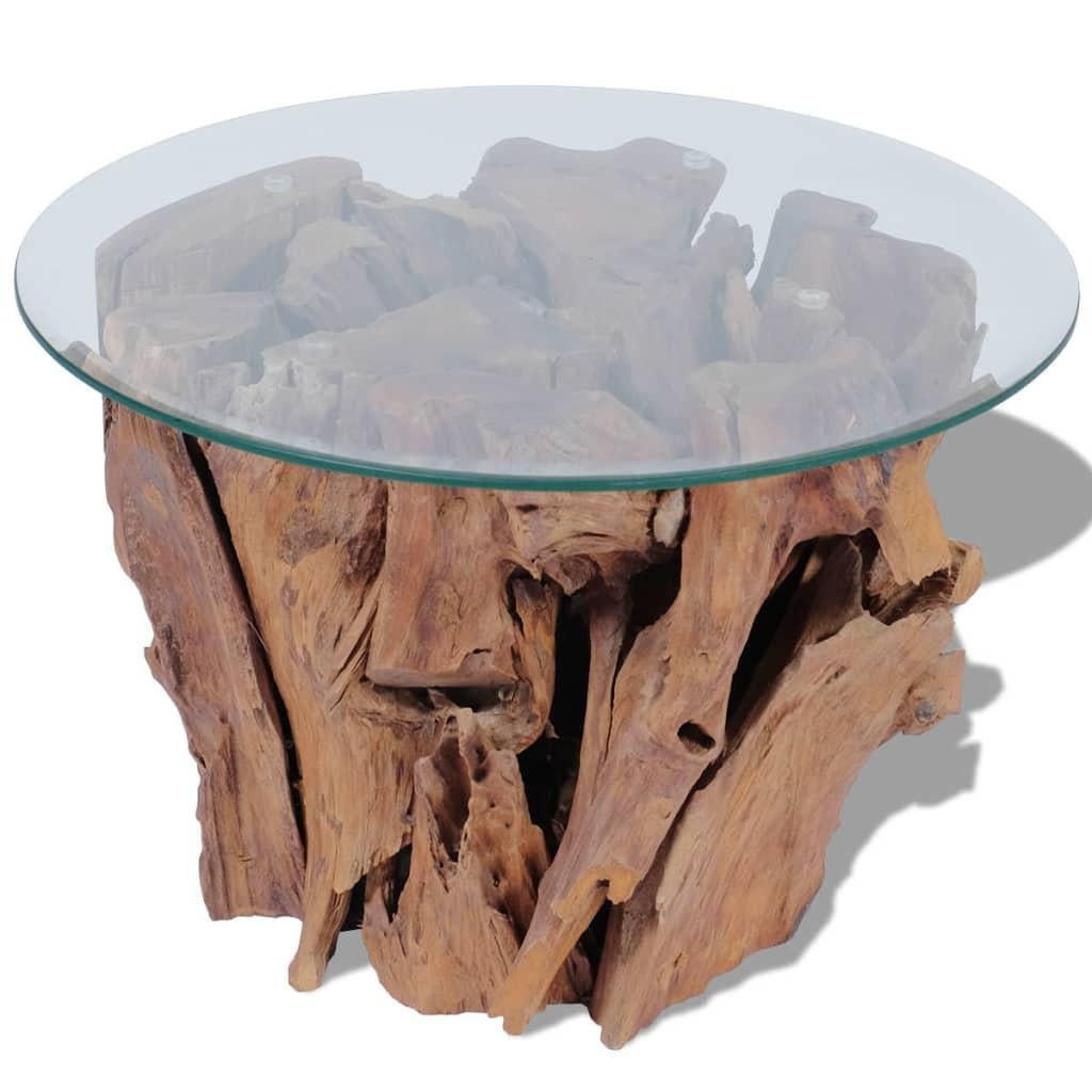 coffee table solid teak driftwood 60 cm