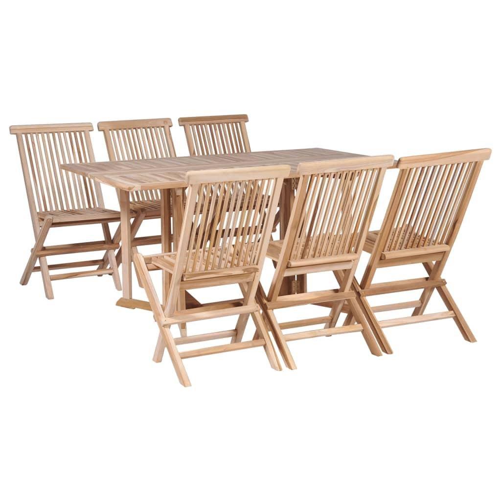 7 piece folding outdoor dining set solid teak wood
