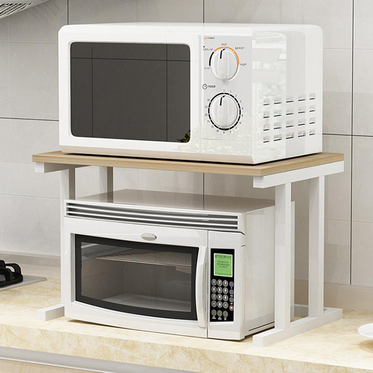 white 6 hooks 2 tier microwave kitchen storage shelf rack oven stand wood bracket