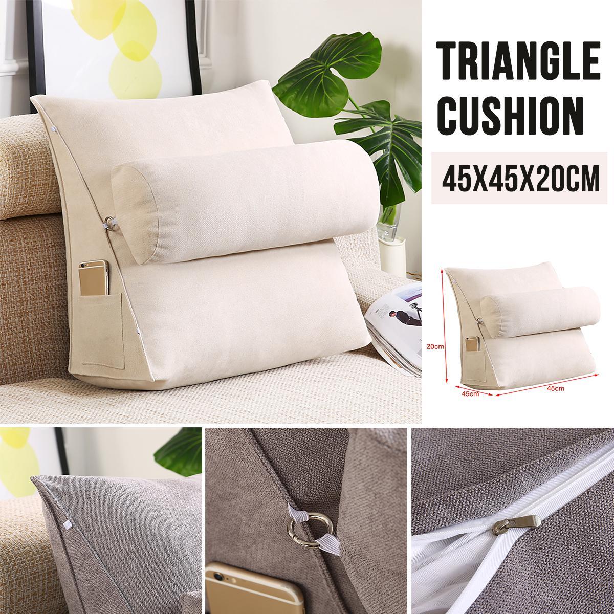 45cm Wedge Back Pillow Rest Sleep Neck Home Sofa Bed Lumbar Office Cushion Matt Blatt