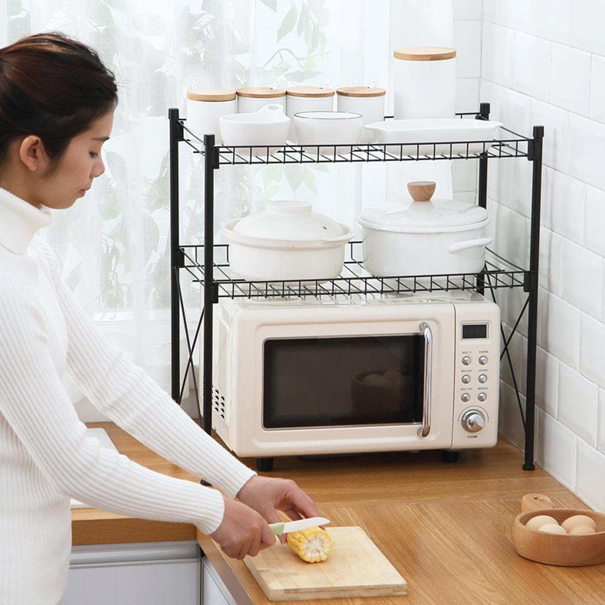 2 tier kitchen microwave stand storage rack floor multi layer household pot lid dish rack microwave oven rack