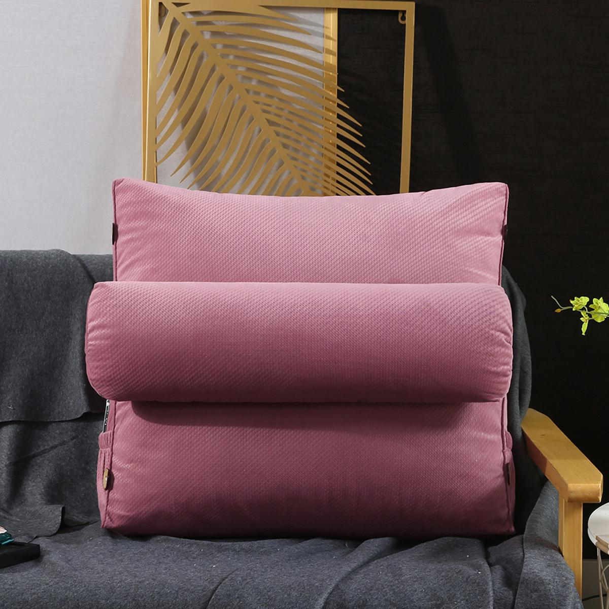 triangular wedge lumbar pillow support cushion backrest bolster soft headboard pink
