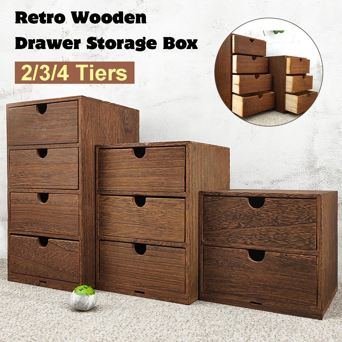 drawer wooden storage organizer small desktop decorative cabinet boxes 4 tiers 18x18x33cm