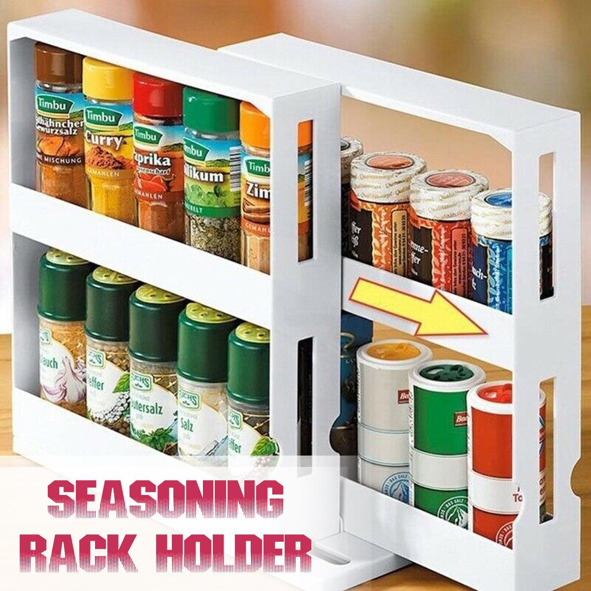 multi function storage rack seasoning spice jar rack rotating kitchen organizer