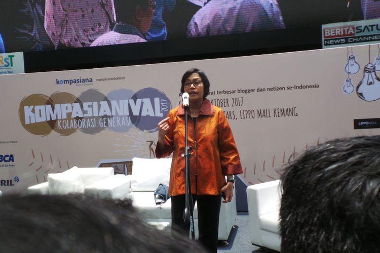 Menteri Keuangan Sri Mulyani saat berada di Kompasianival 2017, di Lippo Mall Kemang, Jakarta Selatan, Sabtu (21/10/2017).