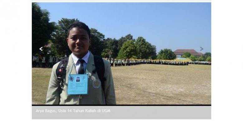 Arya Bagus Kevin dipanggil sebagai mahasiswa baru Universitas Gadjah Mada (UGM) termuda oleh pembawa acara upacara penerimaan mahasiswa baru UGM tahun akademik 2014/2015
