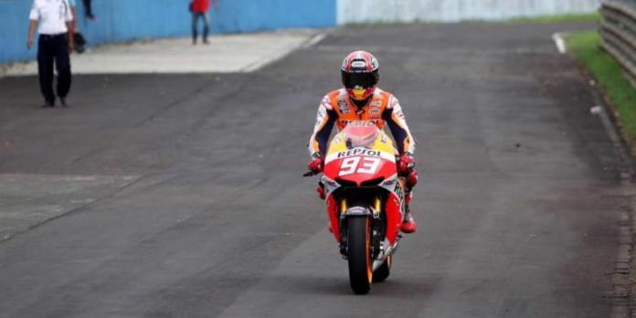 Marc Marquez memacu Honda RCV di Sirkuit Sentul, Bogor, Jawa Barat