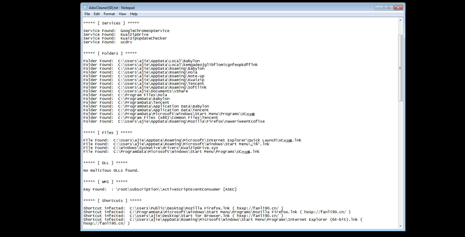 Log file, AWDCleaner.