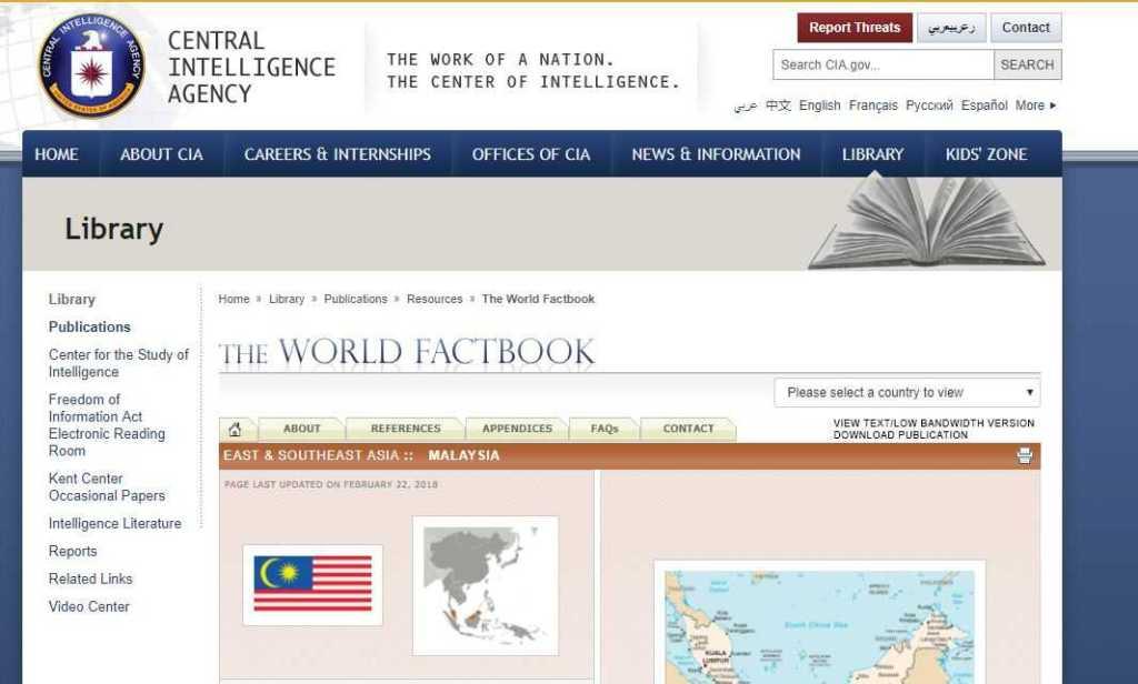 Screenshot, factbook cia untuk mendapatkan profil negara tujuan ekspor