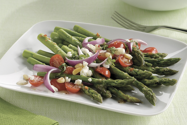 Asparagus Tomato  Goat Cheese Salad Recipe  Kraft Recipes