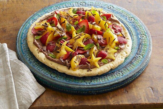 Pizza con crema de chocolate y frutas Receta  Comida Kraft