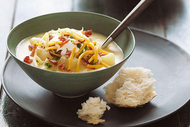 easy bacon cheese potato soup with sour cream kraft recipes