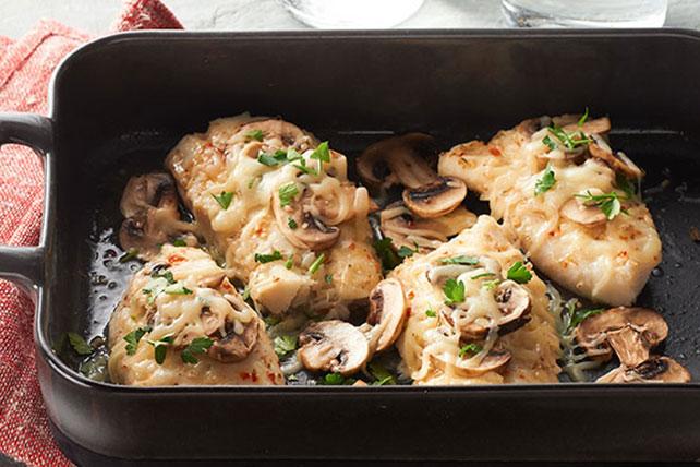 Cheesy Mushroom-Fish Bake