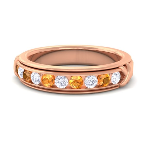 Natural Orange Citrine Eternity Wedding Band