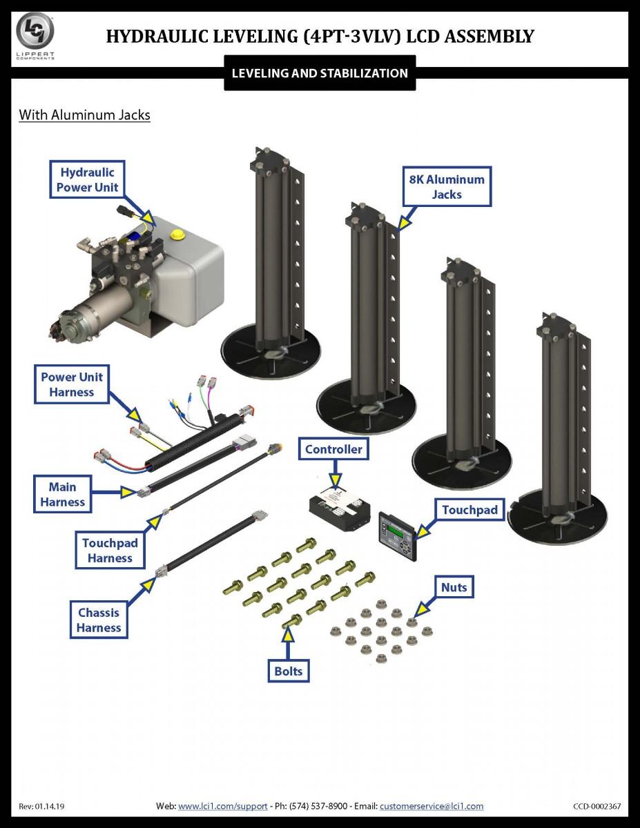 medium resolution of hydraulic leveling 4pt 3vlv lcd assembly