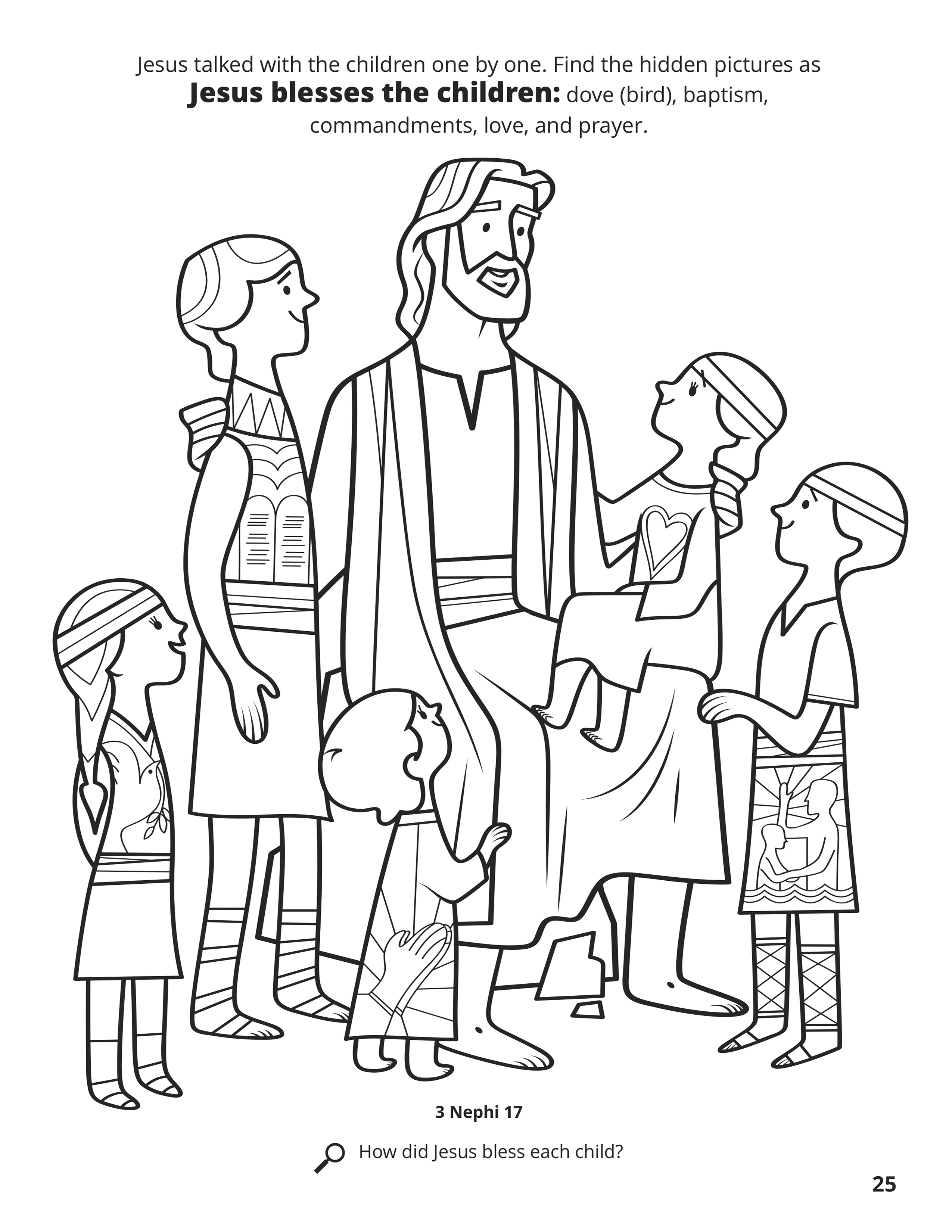 Nephi Coloring Page : nephi, coloring, Jesus, Blesses, Children