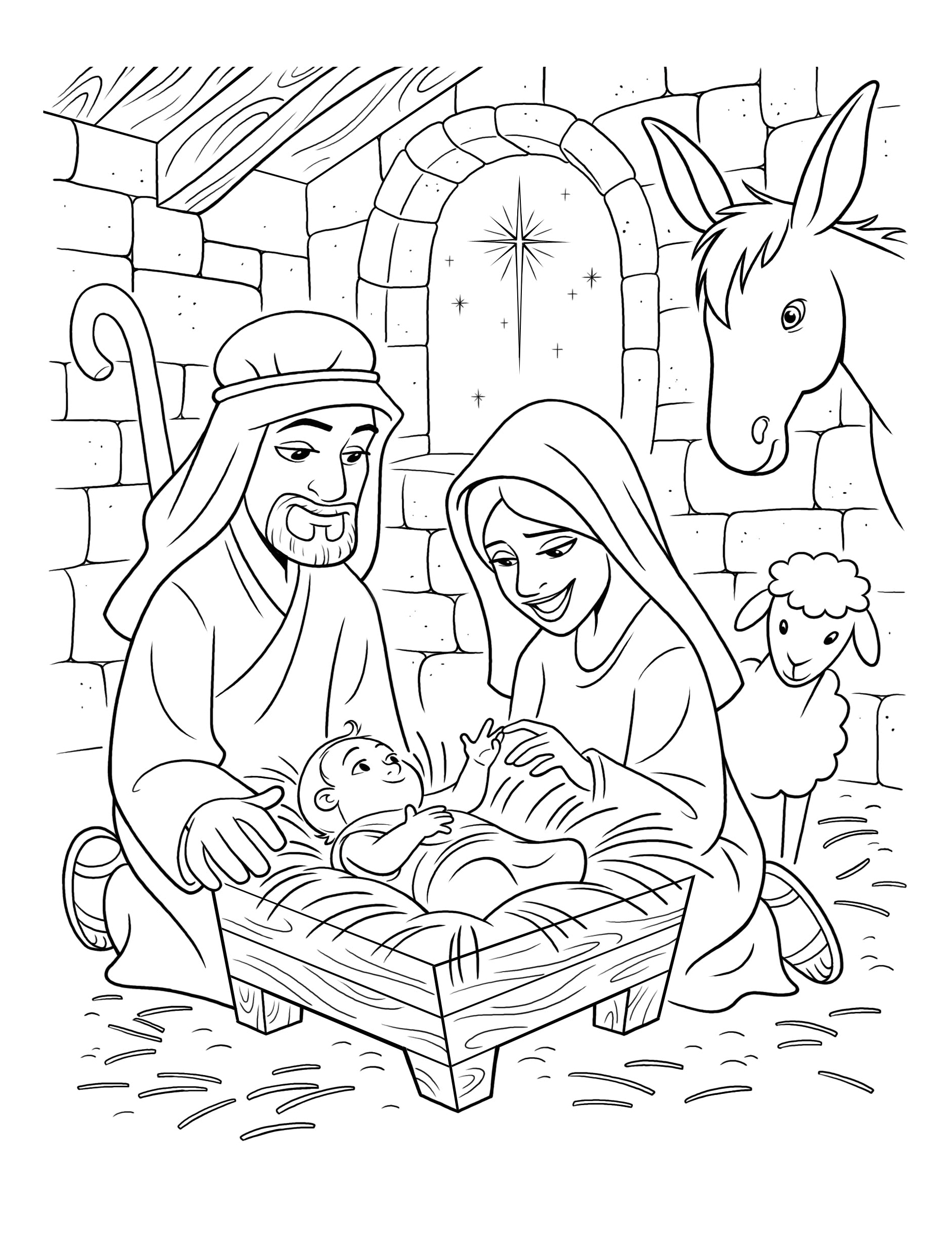 Baby Jesus Coloring Pages : jesus, coloring, pages, Birth, Christ