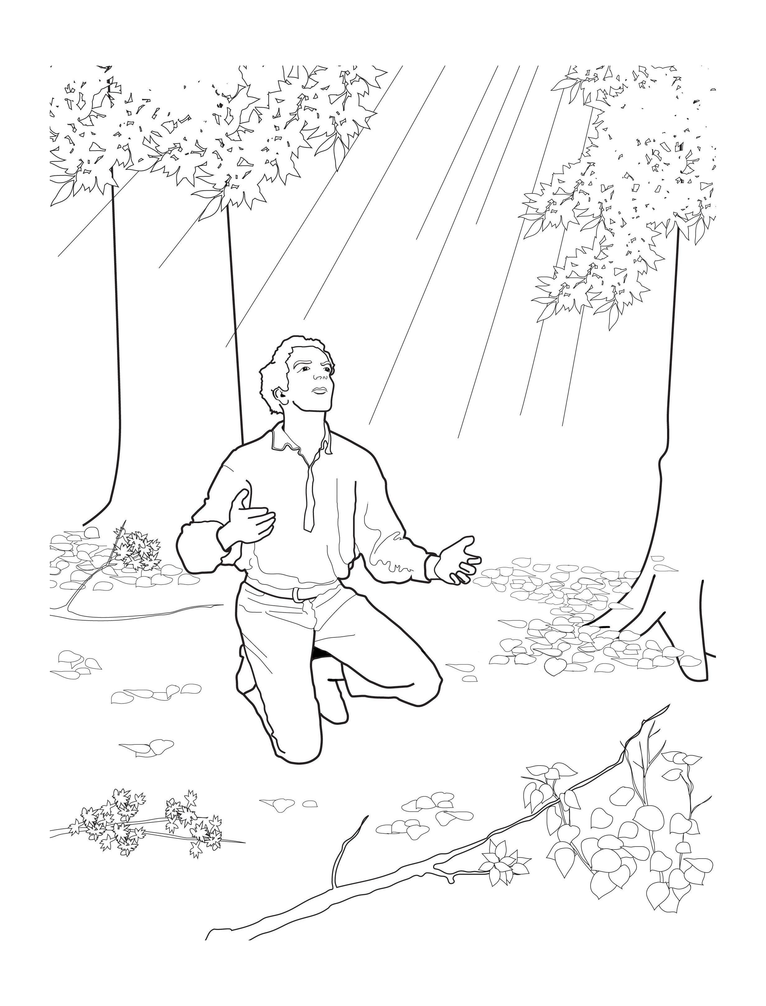Joseph Smith First Vision Coloring Page : joseph, smith, first, vision, coloring, Joseph, Smith's, First, Prayer